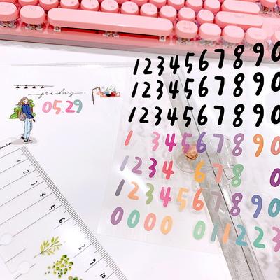 손글씨 숫자 스티커 1매 (리무버블) - 칼선스티커