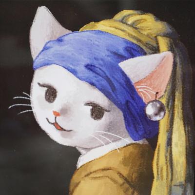 고양이 포스터_진주귀걸이를한소녀