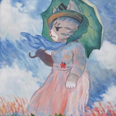 고양이 포스터_양산을쓴여인