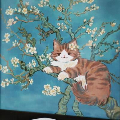 고양이액자_꽃피는아몬드나무
