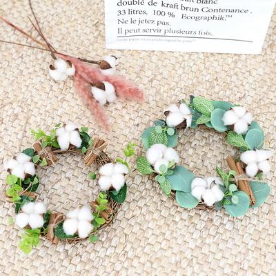 꽃다발 홈데코 인테리어 리스2종 목화 유카리 시나몬리스