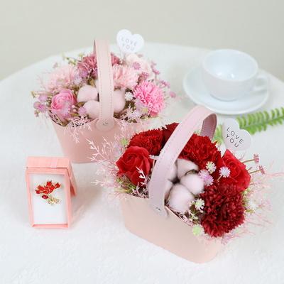 어버이날 비누꽃 선물 핑크뮬리 카네이션 바구니