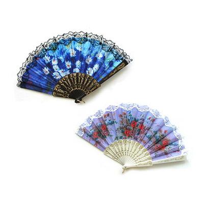 엔티크 부채 레이스 여름 휴대용 접이식 선물 꽃무늬