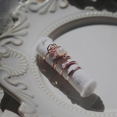 1+4 핑크골드 꽃 진주 반지세트