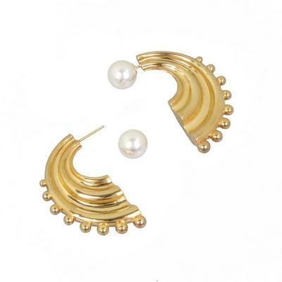 비유설백 인어 진주 귀걸이 - 볼드 _ Korean mermaid pearl bold earring