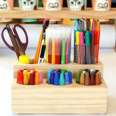 아이스타 원목 연필 색연필꽂이