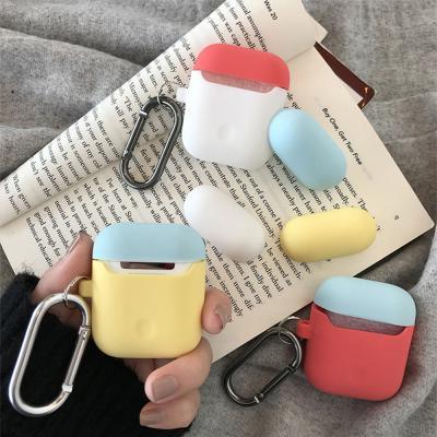 차이팟 에어팟 투톤 파스텔 실리콘 케이스+1 분실방지 고리 키링 세트 1 2세대 호환