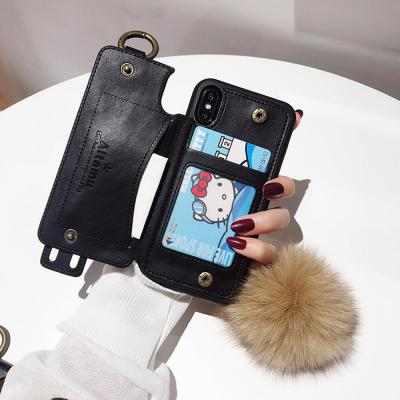 아이폰XR XS MAX 7 7+ 8 8PLUS 가죽 카드 수납 지갑 케이스 손잡이 스트랩