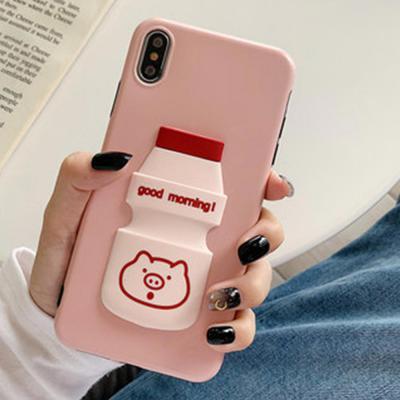 아이폰 XR XS MAX 7 8플러스 핑크돼지 캐릭터 입체 요구르트 소프트 실리콘 케이스