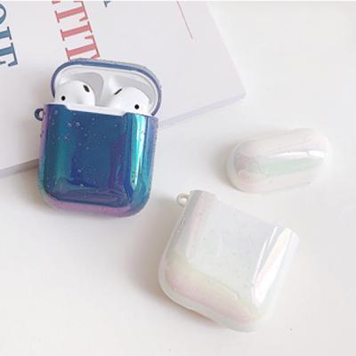 에어팟케이스 심플 아쿠아 홀로그램 디자인 물방울 유광 하드 풀커버 악세사리 1 2세대 호환