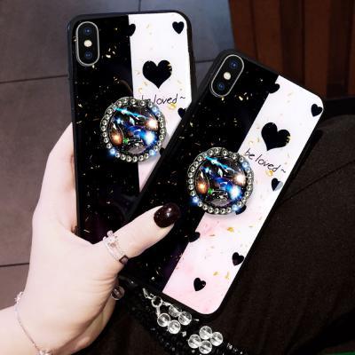 갤럭시노트10 노트10플러스 큐빅 데코덴 스마트톡 스트랩 세트 강화유리 하드 휴대폰 케이스