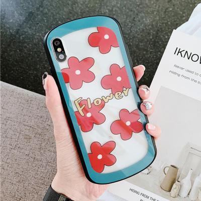 아이폰XR XS MAX 7 8플러스 예쁜 플라워 패턴 유광 아크릴 투명 하드 휴대폰 케이스