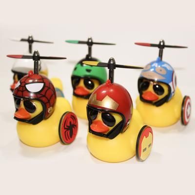 히어로 러버덕 날개 헬멧 프로펠러 led 라이트 벨 전조등 후미등 안전등 자전거 악세사리