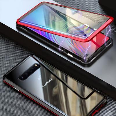 갤럭시노트10 노트10플러스 전면 풀커버 투명 강화유리 슬림핏 메탈 마그네틱 휴대폰 케이스