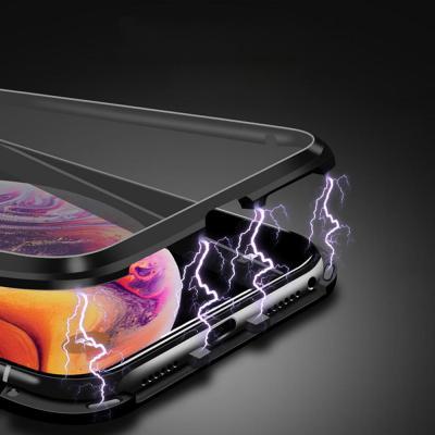 아이폰11 프로 맥스 PRO MAX 프라이버시 풀커버 마그네틱 메탈 강화유리 하드 케이스
