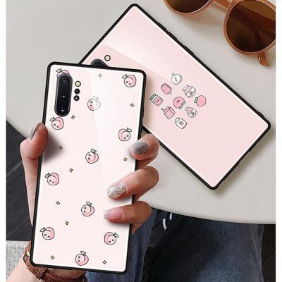 갤럭시노트10 노트10플러스 노트9 귀여운 복숭아 패턴 강화유리 하드 범퍼 휴대폰 케이스