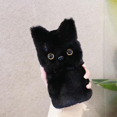 아이폰XR XS MAX 8 7 플러스 고양이 캐릭터 실리콘 겨울 밍크 털 퍼 휴대폰 케이스