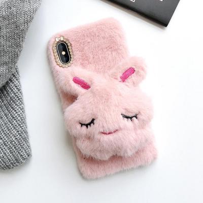 갤럭시노트10 노트10플러스 귀여운 토끼 인형 마그네틱 거치대 겨울 털 휴대폰 케이스
