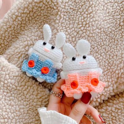 에어팟 1/2 차이팟 귀여운 커플 멜빵 토끼 인형 겨울 털 뜨개질 니트 실리콘 충전 케이스