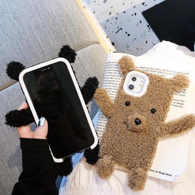 아이폰11 PRO MAX XR XS 8 7플러스 특이한 곰돌이 인형 털 뽀글이 퍼 폰케이스