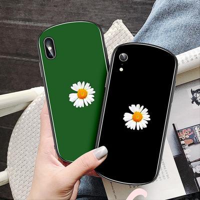 아이폰11 프로 맥스 XR XS MAX 8 7 플러스 국화꽃 프린팅 강화유리 사각 케이스