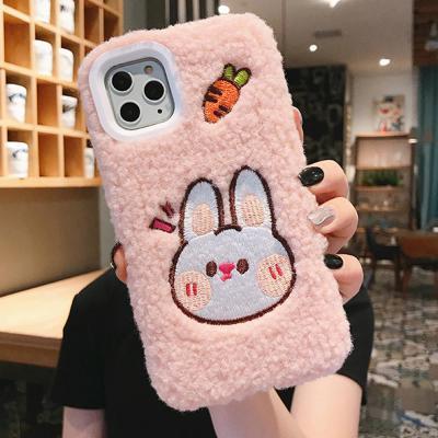 아이폰11 프로 맥스 XR XS 8 7 커플 자수 토끼 곰돌이 캐릭터 뽀글이 양털 케이스