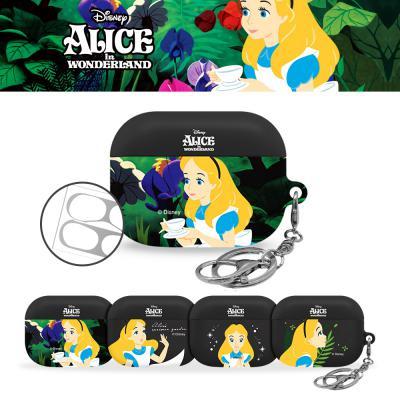 에어팟프로케이스 3세대 정품 디즈니 이상한 나라의 앨리스 블랙 하드 무선충전 고리 키링세트