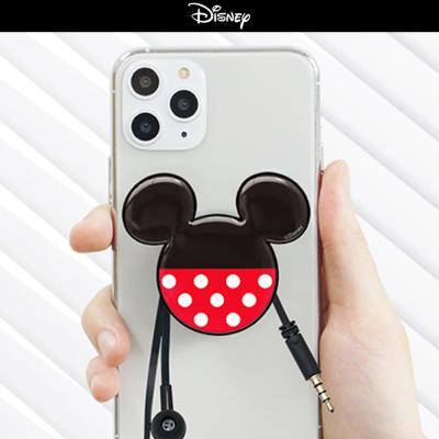 정품 디즈니 쓰리서클 그립톡 미키 미니 마우스 캐릭터 핸드폰 핑거 거치대 3단 이어폰 정리