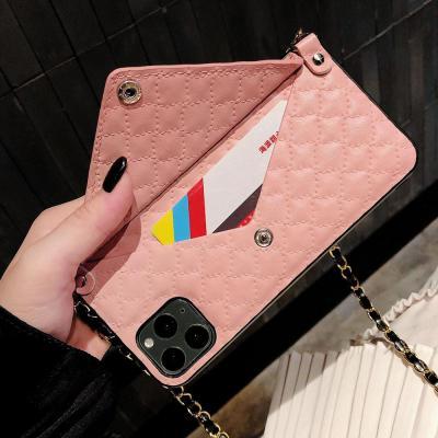 아이폰11 프로 맥스 XR XS 8 7 플러스/체인 줄 스트랩 핸드백 가죽 카드지갑 케이스