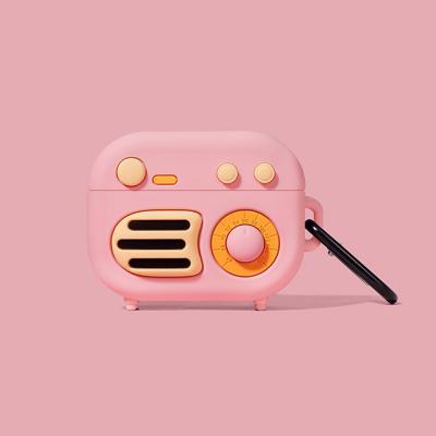 에어팟프로케이스 3세대 에어버즈프로 호환 레트로 라디오 실리콘 이어폰 케이스 카라비너 세트