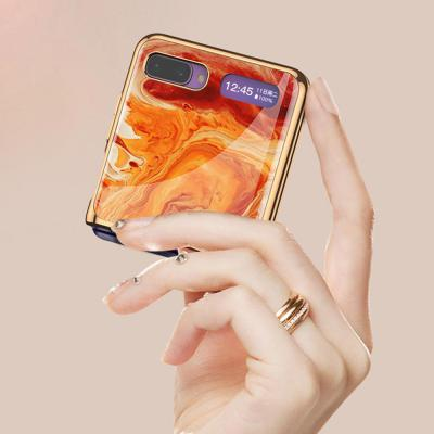 갤럭시Z플립 심플 이쁜 자개 대리석 마블 패턴 골드라인 강화유리 글라스 하드 휴대폰 케이스