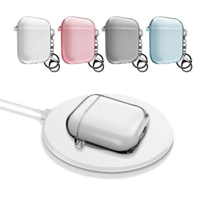 에어팟 1세대 2세대 솔리드 클리어 투명 일체형 하드 무선 충전 케이스 키링 고리 세트