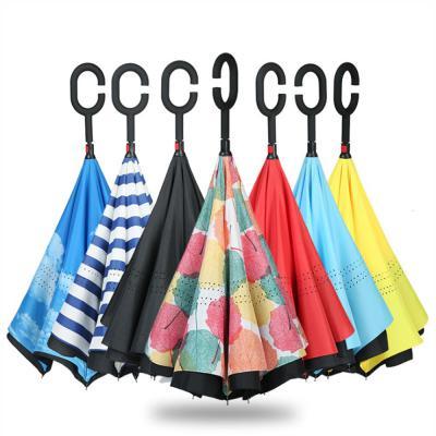 거꾸로우산 C형 손잡이 컬러 패턴 튼튼한 접이식 반전 귀여운 예쁜 아이디어우산 장우산 추천