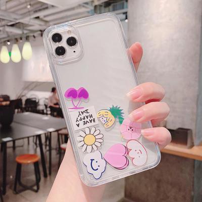 아이폰SE2 11 프로 맥스 XR XS 8 7플러스 홀로그램 귀여운 이모티콘 아쿠아 투명 하드 휴대폰 케이스