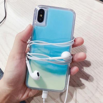 아이폰SE2 11 프로 맥스 XR XS 8 7플러스 야광 네온 믹스 샌드 아쿠아 글리터 투명 젤하드 휴대폰 케이스