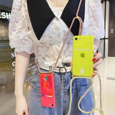 아이폰SE2 8 7플러스 심플 형광 네온 컬러 카드수납 핸드폰 줄 목걸이 스트랩 투명 실리콘 휴대폰 케이스