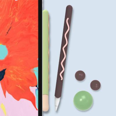 애플 펜슬 1세대 2세대 귀여운 마카롱 4종 컬러 스킨 실리콘 커버 케이스 아이패드 태블릿 터치펜 악세사리