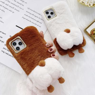 아이폰12 11 PRO MAX XR XS SE2 8 7PLUS 귀여운 강아지 캐릭터 웰시코기 엉덩이 입체 겨울 밍크 털 케이스