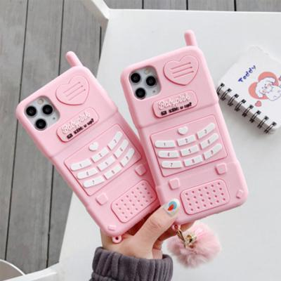아이폰12 PRO MAX MINI 11 XR XS SE2 8 7플러스 특이한 레트로 입체 핑크 전화기 캐릭터 실리콘 폰케이스