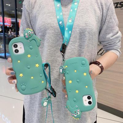 아이폰12 PRO MAX MINI 11 XR XS SE2 8 7+ 귀여운 공룡 캐릭터 목걸이 스트랩 휴대폰줄 키링 실리콘 케이스