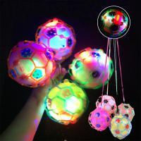 LED 라이트 점프볼 축구공 플래시 탱탱볼 댄스 음악 피젯 토이 휴대용 스트랩 학생 애완동물 놀이 장난감
