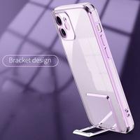 갤럭시S21 플러스 울트라 카메라보호 전기도금 컬러라인 스탠딩 거치대 브래킷 클리어 투명 하드 폰케이스