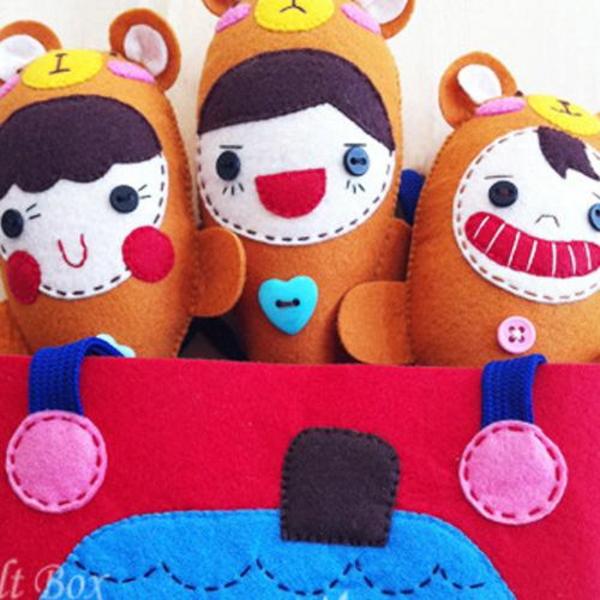반제품 DIY kit  곰세마리 마라카스딸랑이와 보관용가방