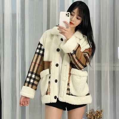 체크 깅엄 양털 페이크퍼 캐주얼 자켓