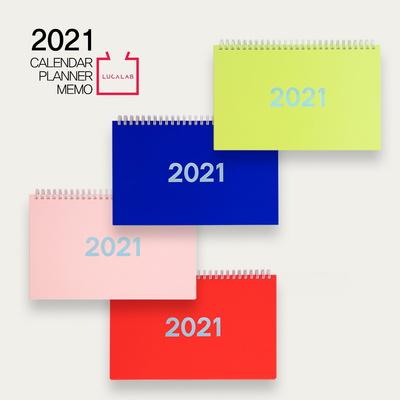 [루카랩] 2021 플랜더-탁상용 캘린더 먼슬리 위클리 주간스케줄 월간 스터디 직장인 업무용 교무용-블루