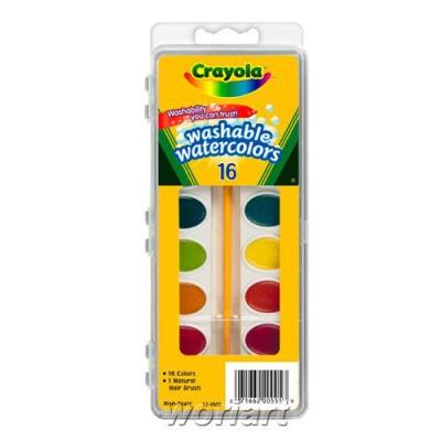 크레욜라 수채화물감 16색과 붓/고체물감