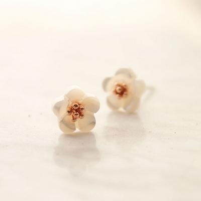 미니 자개 꽃 귀걸이