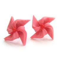 핑크 바람개비 귀걸이