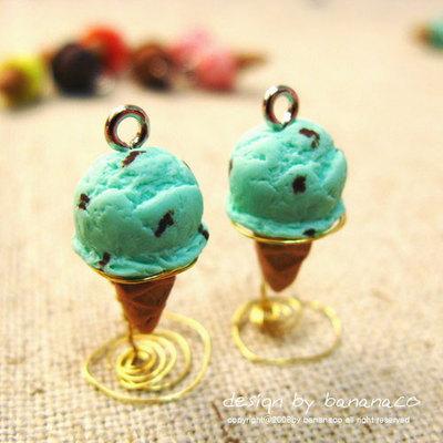 민트초코 아이스크림 귀걸이