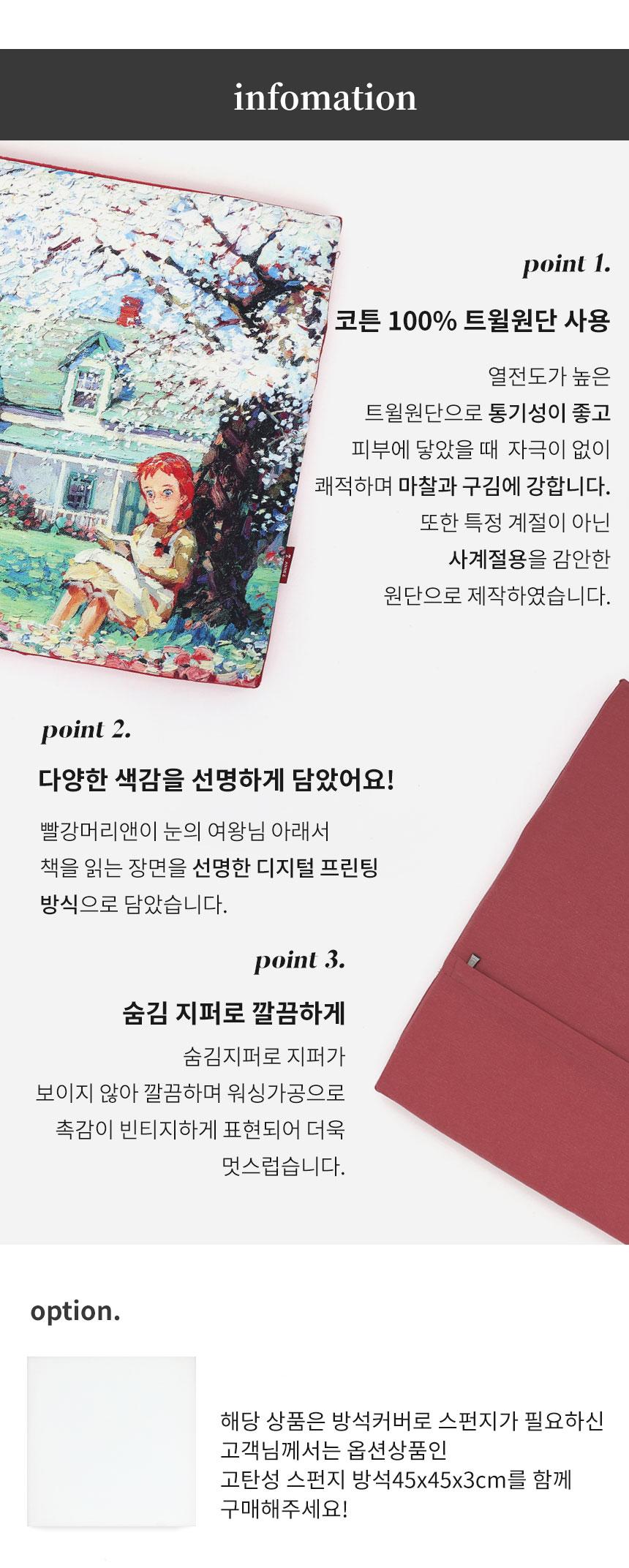 빨강머리앤 명화 방석커버 45x45x3cm 레드 - 앤즈, 27,500원, 방석커버, 방석커버
